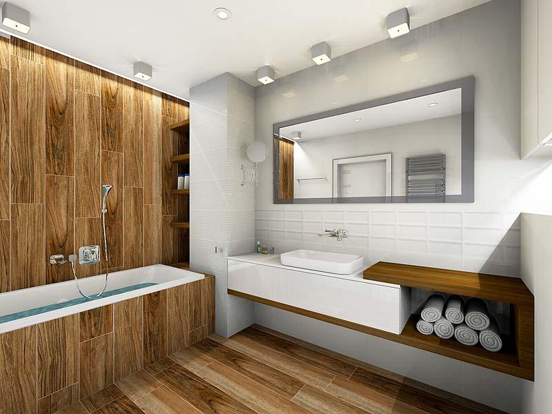 łazienka W Drewnie Podłogi Archimaniapl