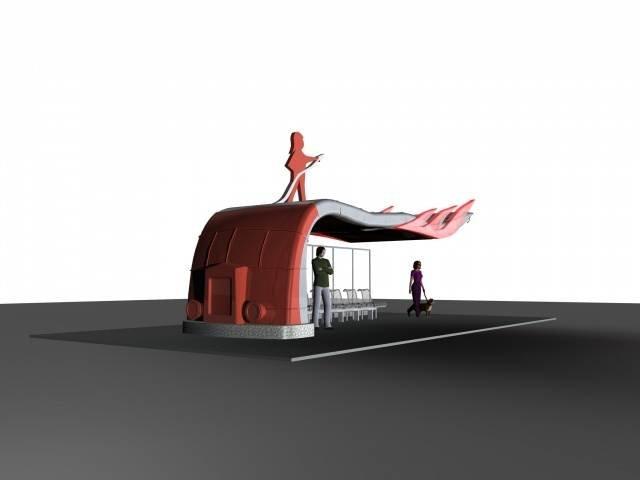 Projekt przystanku autobusowego wykonanego dla Suwałk