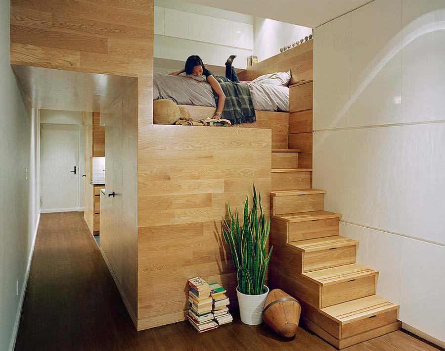łóżko na małej przestrzeni