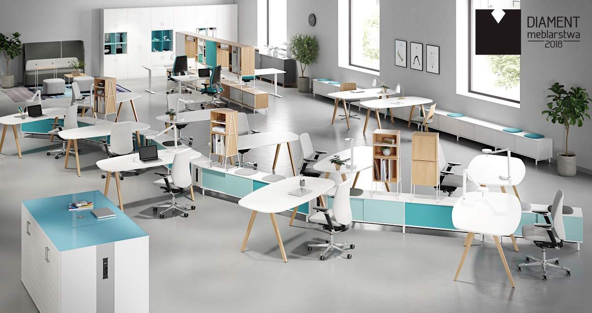 Seria mebli biurowych Space Diamentem Meblarstwa 2018 w kategorii strefa pracy.