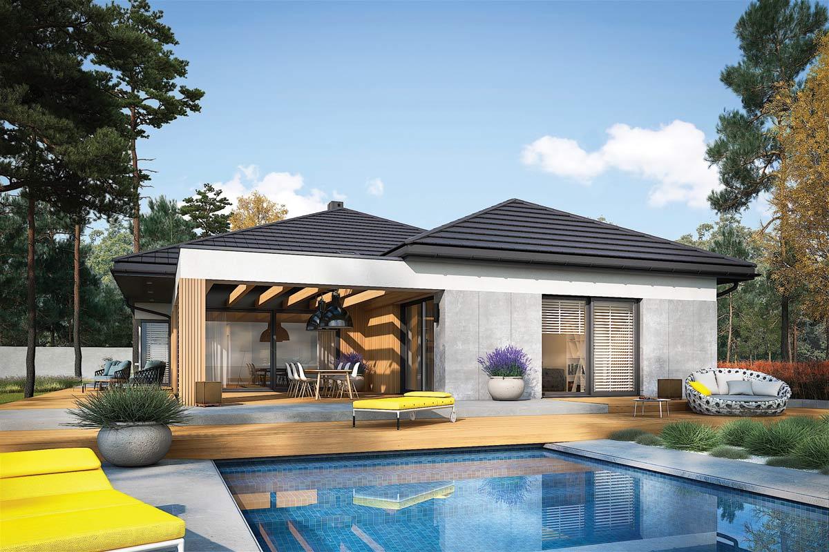 Karen G2 – nowoczesny dom parterowy z rewelacyjnym tarasem
