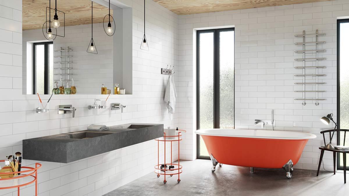 Łazienkowe wnętrze ze szczyptą oranżu